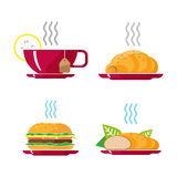 Beautiful fast food white background. Cheeseburger pizza tea coffee vector illustration. Beautiful fast food icons white background. Cheeseburger cola chips Royalty Free Stock Images