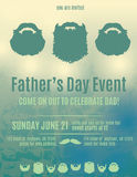 Beautiful Fathers Day invitation flyer. Father's day invitation flyer with beards stock illustration