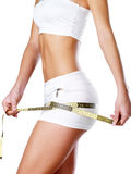 Beautiful feamle body with measuring tape. Stock Images