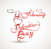 Beautiful 14 February stylish calligraphy text design Royalty Free Stock Images