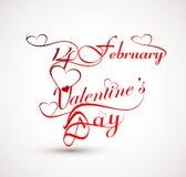Beautiful 14 February stylish calligraphy text design Royalty Free Stock Images