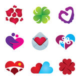 Beautiful feeling of love emotion heart design icon set Royalty Free Stock Photography
