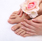 Beautiful feet with perfect spa french nail Royalty Free Stock Photos
