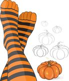 Beautiful feet in stripy socks with pumpkin Stock Image