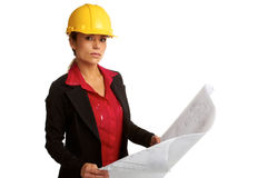 Beautiful female architech with business plans Royalty Free Stock Photo