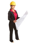 Beautiful female architech with business plans Royalty Free Stock Photos