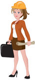 Beautiful Female Architect. Holding a briefcase and blueprint Royalty Free Stock Photo