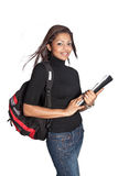 Beautiful female asian student with rucksack. And folders Royalty Free Stock Images