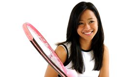 Beautiful female Asian tennis player Stock Photos