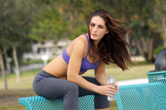 Beautiful Female Athlete Outdoors (9) Stock Photography
