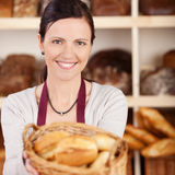 Beautiful female bakery worker Royalty Free Stock Photography