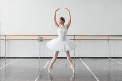 Beautiful female ballet dancer in class Royalty Free Stock Image