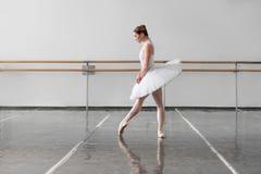 Beautiful female ballet dancer in class Stock Photo