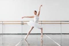 Beautiful female ballet dancer in class Stock Photos
