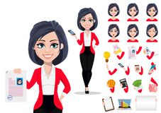 Beautiful female banker in business suit. Pack of body parts, emotions and things. Business woman, manager, banker. Beautiful female banker in business suit royalty free illustration