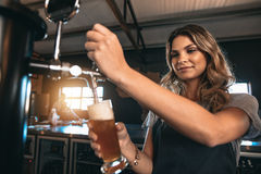 Beautiful female bartender tapping beer in bar. Young woman dispensing beer in a bar from metal spigots. Beautiful female bartender tapping beer in bar Royalty Free Stock Image