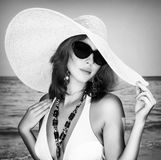 Beautiful female on the beach Stock Photography