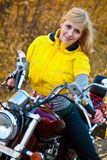 Beautiful female biker Royalty Free Stock Photography