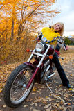 Beautiful female biker Royalty Free Stock Photos