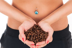 Beautiful female body and coffee Stock Photos