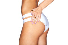 Beautiful female body. in white swimming panties royalty free stock photos