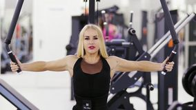 Beautiful female bodybuilder is performing exersices at the gym. Strong arms, endurance, fitness. Beautiful female bodybuilder is performing exersices at the stock footage
