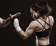 Beautiful female boxer. Royalty Free Stock Image