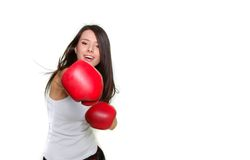 Beautiful female boxer over white Stock Photo