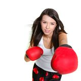Beautiful female boxer over white Stock Photography