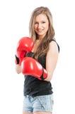 Beautiful female boxer posing Stock Photos