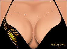 Beautiful female breast in water droplets. Stock Photos