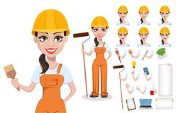 Beautiful female builder in uniform. Cartoon character set. Professional construction worker. Smiling repairer woman. Pack of body parts, emotions and tools stock illustration
