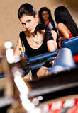 Beautiful female casino roulette table Stock Photography