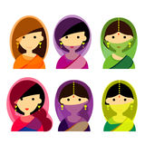 The beautiful Female characters of Indian set vector design,avatar royalty free stock photography