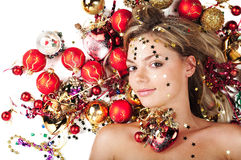 Beautiful female with Christmas decorations Royalty Free Stock Photography