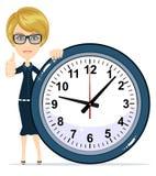 Beautiful female with clock. Stock Photo