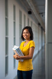 Beautiful Female College Student Hallway Books Stock Image