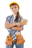 Beautiful female construction worker on photo with Stock Photo