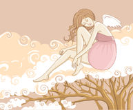 Beautiful female cupid sitting on the cloud royalty free illustration