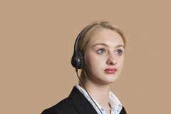 Beautiful female customer service representative over colored background Royalty Free Stock Photo