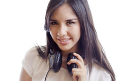 Beautiful female deejay Stock Images