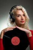 Beautiful female DJ Stock Photography