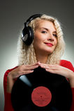 Beautiful female DJ Stock Photo