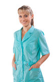 Beautiful female doctor with hands in pockets isolated Royalty Free Stock Photo