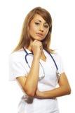 Beautiful female doctor isolates on white. Beautiful female doctor standing  isolates on white Stock Photo