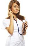 Beautiful female doctor isolates on white. Beautiful female doctor standing  isolates on white Stock Photos