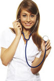 Beautiful female doctor isolates on white Stock Photo