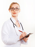 Beautiful female doctor with stethoscope. Royalty Free Stock Images