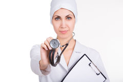 Beautiful female doctor with stethoscope Stock Images