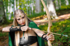 Beautiful female elf archer in the forest hunting with a bow. Shot of a gorgeous female elf wearing green cape hunting in the forest with a bow and arrows Royalty Free Stock Image